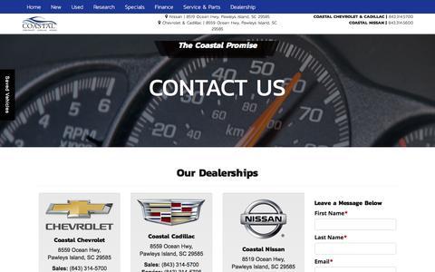 Screenshot of Contact Page coastalsaves.com - Contact Us Coastal Chevrolet Cadillac Nissan 8559 Ocean Highway Pawleys Island, SC 29585   (843) 979-3400 - captured Nov. 8, 2016