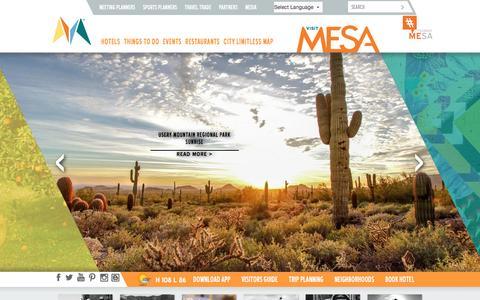 Screenshot of Home Page visitmesa.com - Mesa AZ Hotels, Things to Do, Restaurants, Events & Golf - captured Aug. 18, 2016