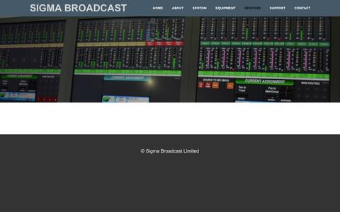 Screenshot of Services Page sigmabroadcast.com - Services - SIGMA BROADCAST - captured Feb. 22, 2016