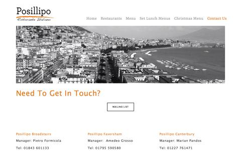 Screenshot of Contact Page squarespace.com - Contact Us — Posillipo - captured Oct. 26, 2014