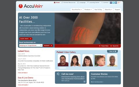 Screenshot of Home Page accuvein.com - AccuVein | Vein Finder, Venipuncture, Vein Illumination, Vein Visualization - captured July 11, 2014
