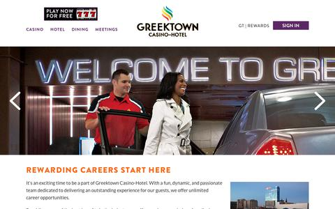 Screenshot of Jobs Page greektowncasino.com - Casino Jobs, Careers, & Employment | Greektown Casino - captured Nov. 11, 2018