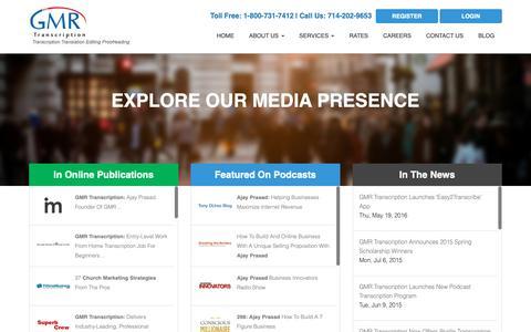 Screenshot of Press Page gmrtranscription.com - News & Media | GMR Transcription - captured June 22, 2019