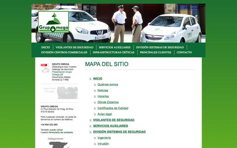Screenshot of Site Map Page grupo-omega.es - Compañia de Seguridad Omega SA - GRUPO OMEGA - captured Oct. 2, 2014