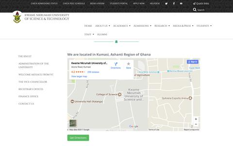 Screenshot of Maps & Directions Page knust.edu.gh - Maps & Directions | Kwame Nkrumah University of Science and Technology - captured Oct. 17, 2017