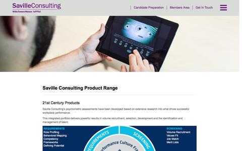 Screenshot of Products Page savilleconsulting.com - Saville Consulting - Saville Consulting Product Range - captured July 23, 2016