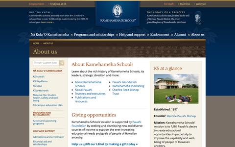Screenshot of About Page ksbe.edu - About us    | Kamehameha Schools - captured May 9, 2017