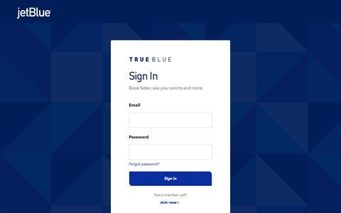 Screenshot of Login Page jetblue.com - Sign In | JetBlue - captured Oct. 20, 2019
