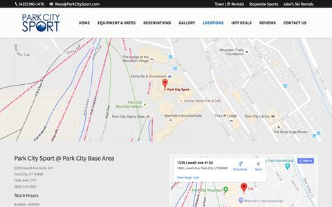 Screenshot of Locations Page parkcitysport.com - Utah Ski and Snowboard Rental Locations | Park City Sport - captured July 15, 2018