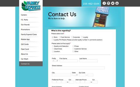 Screenshot of Contact Page familyexpress.com - Contact Us - Family Express - captured Oct. 13, 2017