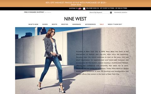 Screenshot of About Page ninewest.com - Shoes for Women | Handbags for Women | Nine West - captured Oct. 2, 2015