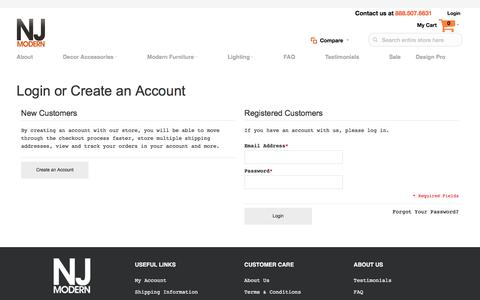 Screenshot of Login Page njmodern.com - Customer Login - captured Aug. 14, 2016