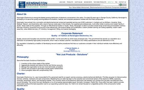 Screenshot of About Page keiconn.com - Kensington Electronics, specializing in Hypertronics - About Us - captured Oct. 8, 2014