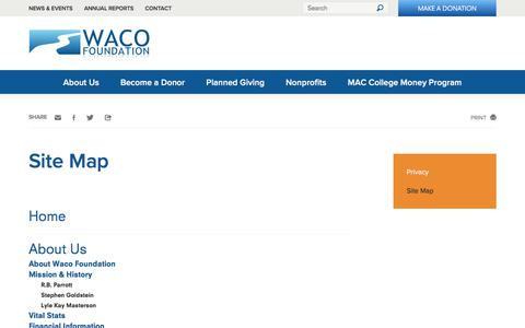 Screenshot of Site Map Page wacofoundation.org - Site Map - Waco Foundation - captured June 18, 2017
