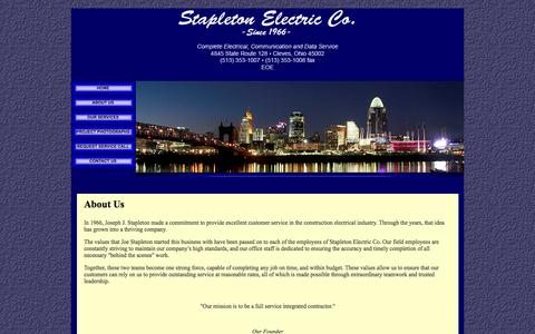 Screenshot of About Page stapletonelectric.com - Cincinnati Electrician - About Us - captured Oct. 6, 2014