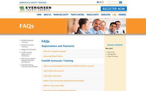 Screenshot of FAQ Page esc.org - FAQs | Evergreen Safety Council - captured Sept. 29, 2018