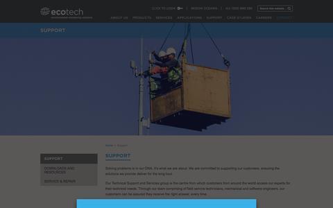 Screenshot of Support Page ecotech.com - Support - captured Jan. 26, 2016