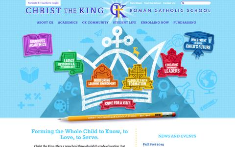 Screenshot of Home Page ckrcs.org - Christ the King Roman Catholic School - captured Oct. 2, 2014