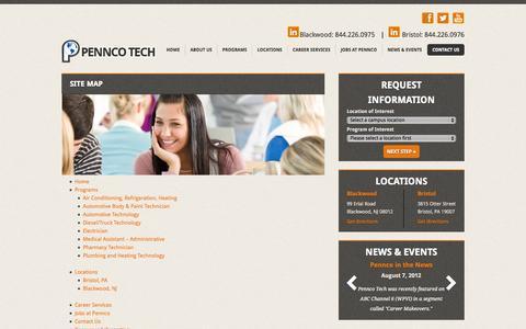 Screenshot of Site Map Page penncotech.edu - Site Map | Pennco TechPennco Tech - captured Sept. 19, 2014
