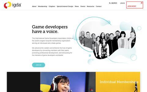 Screenshot of Home Page igda.org - IGDA – International Game Developers Association - captured Dec. 11, 2019