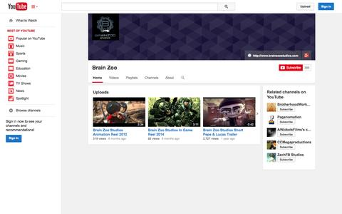 Screenshot of YouTube Page youtube.com - Brain Zoo  - YouTube - captured Oct. 23, 2014