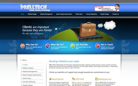 Screenshot of Home Page prelltech.com - Professional web design service for the Cincinnati and Dayton Ohio areas providing cheap website design at  custom website prices by PRELLTECH website developers. - captured Sept. 19, 2015