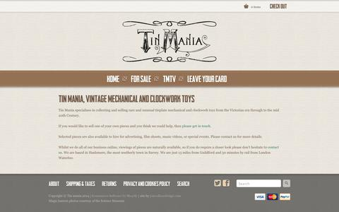 Screenshot of About Page tinmania.co.uk - Tin Mania, vintage mechanical and clockwork toys | Tin Mania - captured Sept. 30, 2014
