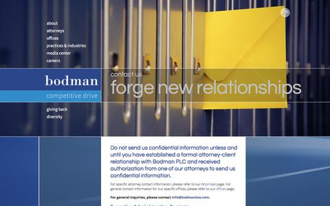 Screenshot of Contact Page bodmanlaw.com - Contact Us   Bodman - captured May 27, 2017