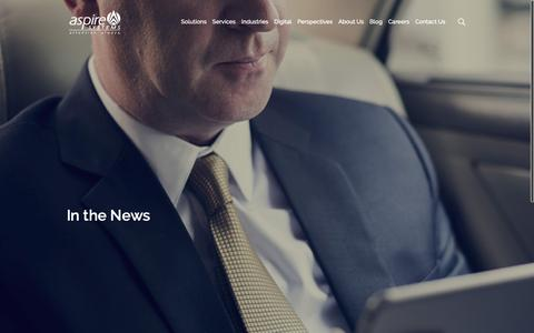 Screenshot of Press Page aspiresys.com - In the News | Aspire Website - captured Oct. 19, 2018