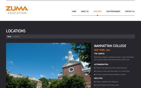 Screenshot of Locations Page zumaeducation.com - Locations  |  ZUMA Education - captured Oct. 26, 2014