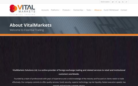 Screenshot of About Page vitalmarkets.com - About VitalMarkets - VitalMarkets - captured Sept. 22, 2014