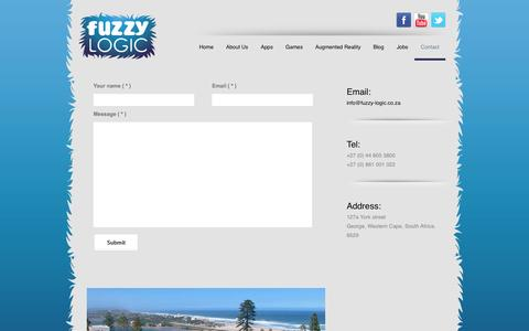 Screenshot of Contact Page fuzzy-logic.co.za - contact  |  Fuzzy Logic - Video Game, Apps & Augmented Reality Developer - captured Sept. 30, 2014