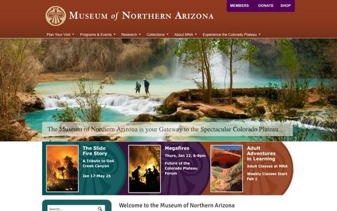 Screenshot of Home Page musnaz.org - Museum of Northern Arizona - The Gateway to the Colorado Plateau - captured Jan. 26, 2015