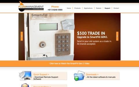 Screenshot of Support Page fluidmt.com - Support | Fluid Management Technology - captured Oct. 6, 2014