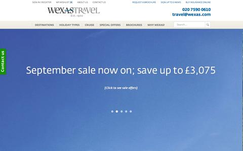 Screenshot of Home Page wexas.com - WEXAS Travel | Tailor-Made Holidays & Tours, Luxury Travel - captured Sept. 24, 2014