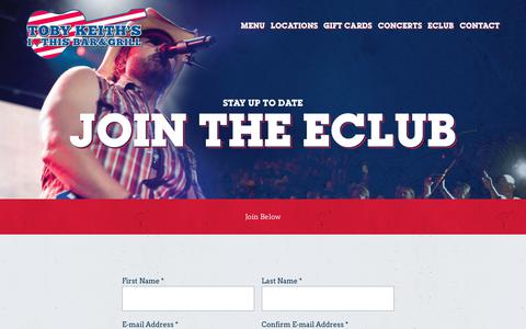 Screenshot of Signup Page tobykeithsbar.com - eClub – Toby Keith's I Love This Bar & Grill - captured Oct. 26, 2018