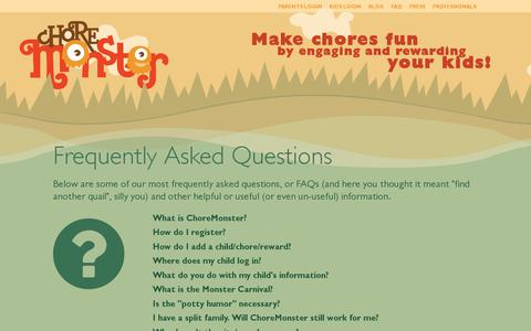 Screenshot of FAQ Page choremonster.com - Frequently Asked Questions | ChoreMonster - captured July 18, 2014