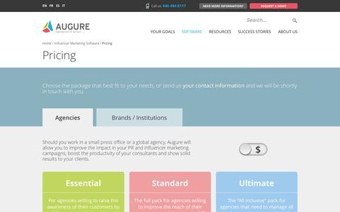 Screenshot of Pricing Page augure.com - Pricing - Augure - captured Nov. 14, 2015