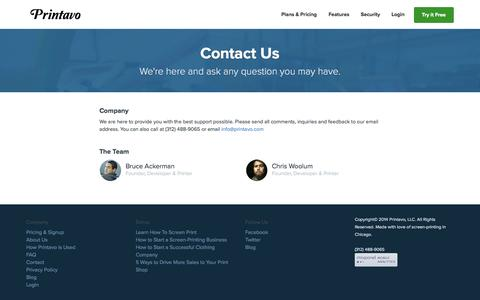 Screenshot of Contact Page printavo.com - Printavo | Contact - Simple screen printing software to help manage your shop. Shop management software in the cloud. - captured Sept. 30, 2014