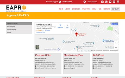 Screenshot of Contact Page eapro.in - EAPRO :: Approach EAPRO - captured Nov. 9, 2018