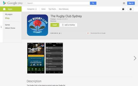 Screenshot of Android App Page google.com - The Rugby Club  Sydney - Android Apps on Google Play - captured Nov. 4, 2014