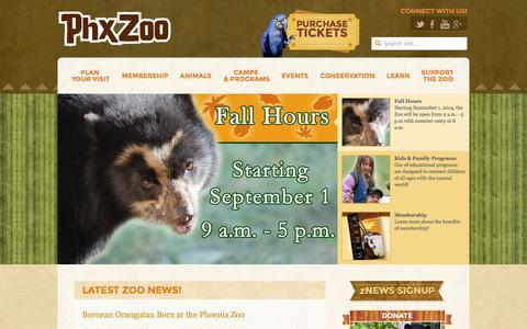 Screenshot of Home Page phoenixzoo.org - Phoenix Zoo - A World Class Zoo for a World Class City - captured Sept. 18, 2014