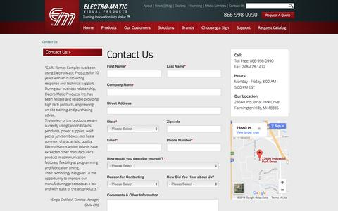Screenshot of Contact Page electro-matic.com - Contact Electro-Matic Visual Solutions   LED Signs   Electro-Matic - captured Nov. 3, 2016