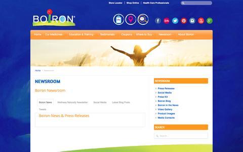 Screenshot of Press Page boironusa.com - BOIRON USA     Newsroom - captured July 5, 2016