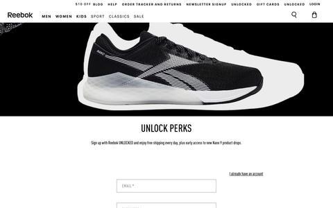 Screenshot of Signup Page reebok.com - Reebok - captured June 12, 2019