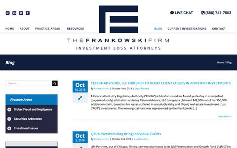 Screenshot of Blog frankowskifirm.com - Securities Fraud Lawyer Blog | Published By The Frankowski Firm - captured Oct. 18, 2018
