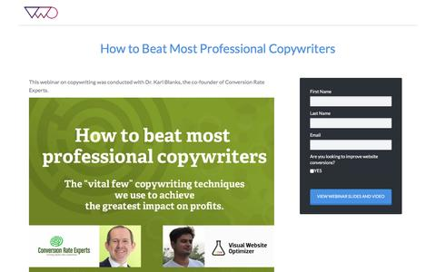 Screenshot of Landing Page vwo.com - How to Beat Most Professional Copywriters - captured Aug. 19, 2016