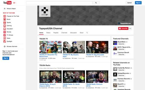 Screenshot of YouTube Page youtube.com - TopspotUSA Channel  - YouTube - captured Oct. 26, 2014