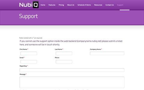 Screenshot of Support Page nubiq.us - NubiQ | Support - captured Oct. 26, 2014