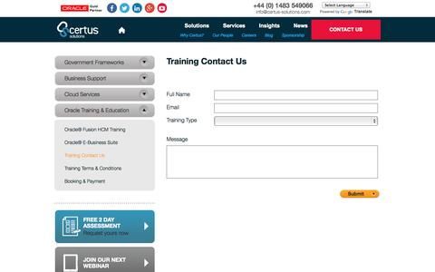 Screenshot of Signup Page certus-solutions.com - Training Contact Us - captured Sept. 26, 2014